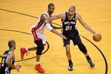 Miami, FL - JUNE 6 Tim Duncan and Chris Bosh Photographic Print