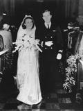 Future President George H.W. Bush and Barbara Bush on their Wedding Day, 1945 Photo