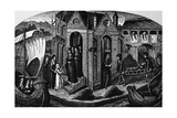 Hotel-Dieu, Paris, with Nuns at the Doors, Receiving a Patient on a Stretcher, 1482 Prints