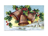 Holidays Christmas Card with Bells and Holly Wishing You a Merry Christmas Giclee Print