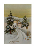 Center Warshaw Collection of Business Americana Series: Christmas Postcards Merry Xmas Giclee Print