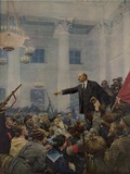 Lenin Declaring Power of the Soviets, in St. Petersburg on October 25, 1917 Print