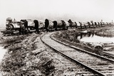 Train Carrying Huge Redwood Sections in Eureka, California, Ca. 1900 Photo