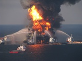 BP's Deepwater Horizon Oil Rig in Flames on April 21, 2010 Photo