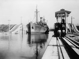 Ship Moves Through the Miraflores Lock of Panama Canal, Ca, 1915 Posters