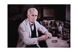 Alexander Fleming (1881-1955), at Laboratory Table, Painting by Dean Fausett Prints