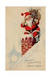 Holidays Christmas Card Santa on a roof Merry Christmas Greetings - Giclee Baskı