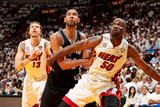 Miami, FL - JUNE 6 Tim Duncan, Mike Miller and Joel Anthony Photographic Print
