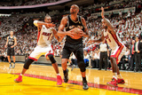 Miami, FL - JUNE 6 Tim Duncan, LeBron James and Chris Bosh Photographic Print