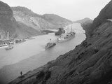 Boats Move Through Panama Canal at the Culebra Cut, Ca. 1915 Photo