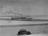 Ocean Liner Aquileia Passing Through the Suez Canal at Ismailia, Ca. 1935 Photo