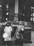 Two Well Dressed Immigrant Children with 'Erie' Labeled at Ellis Island, Ca. 1910 Print