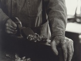 Hands of Shaker Brother Using a Wooden Plane in a Workshop, 1935 Print