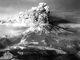 Mount St. Helens in Eruption on May 18, 1980 with Mt. Adams in Distance Photo