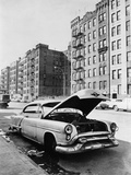 Abandoned Automobile and Tenement Apartments in the Bronx, NYC, Ca. 1964 Photo