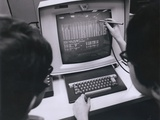 Ibm Programmers Work at a Cathode Ray Monitor with a Touch-Screen Pointer, 1980 Posters