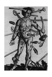 Wound Man Illustrates Effects of Different Weapons. by Hans Wechtlin, Ca. 1500 Posters