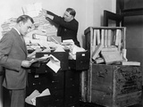 Two Employees of the Federal Radio Commission Overwhelmed by Piles of Mail in 1929 Prints