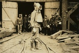 Man Equipped with Draeger Oxygen Helmet, About to Enter a Coal Mine in Pennsylvania. January 1911 Print