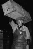 Paris Porter Wearing a Special Hard-Crowned Hat to Carry a Fish Crate, 1946 Posters