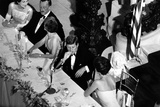 Jackie Kennedy Talks with President Kennedy at America's Cup Dinner, Sept. 1962 Foto