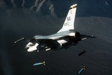 F-16 Fighter Releasing Three 2000-Pound Bombs, Feb 1, 1987 Photographic Print