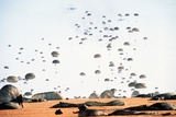 US Paratroopers Land at Palmerola Air Base in Honduras During Exercises, Jan. 1988 Photographic Print