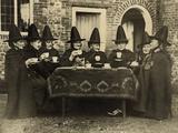 Eight Women in High Hats Having Tea in Norfolk, England, Ca. 1920 Photo