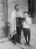 Jewish Boy in Prayer Shawl Reading from a Hebrew Bible on Yom Kippur, NYC, 1911 Photo