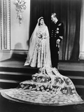 Princess Elizabeth and Prince Philip in a Full-Length Wedding Portrait, 1947 Photo