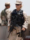 Female Soldier in Combat Gear at Sather Air Base in Iraq, Ca. 2008 Photo