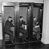 Reporters in Telephone Booths in White House Press Room, Ca, 1937 Posters