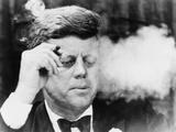 President John Kennedy  Smoking a Cigar at a Democratic Fundraiser  Oct 19  1963