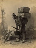 Turkish Porter Carrying Luggage on His Back. Portrait by Abdullah Freres, Ca. 1890 Poster