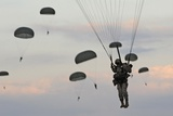 82nd Airborne Descend from a Parachute Drop Fort Bragg, Sept. 13, 2010 Photographic Print