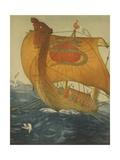 The Dragon Ship, Viking Ship at Sea, Etching by John Taylor Arms 1922 Posters