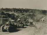 French Tanks Passing Through Rampont, France, in the Last Month of World War I Posters