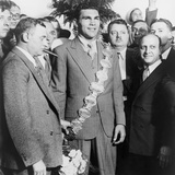 Max Schmeling Flanked by His Manager Joe Jacobs and Nat Fleischer, 1930s Photo