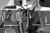 Sen. Robert and Elizabeth Dole with Gerald Ford Leave Helicopter to Campaign, 1976 Photo