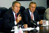 Pres. George W. Bush and Donald Rumsfeld Meet with Press on Sept. 17, 2001 Photo