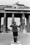 Soviet Military Police Woman Directing Traffic at the Brandenburg Gate, 1945 Photo