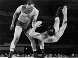 Joe Louis Throws Jim Bernard to the Mat During a 1956 Wrestling Match in Detroit Prints