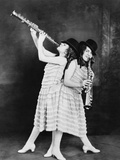 Daisy and Violet Hilton, British Born Conjoined Twins Play Clarinets, 1924 Photo