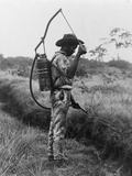 Worker Spraying Oil on Breeding Places of Mosquitoes in Panama, Ca. 1905 Fotografía