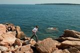 President Barack Obama Hikes Along the Coastline in Acadia National Park Maine, July 17, 2010 Photographic Print
