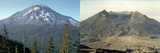 Before and after the Eruption of Mount Saint Helens on May 17, 1980 Photo