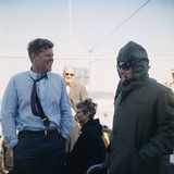 President Kennedy Stands Beside His Bundled Up Pierre Salinger, Sept. 15, 1962 Prints