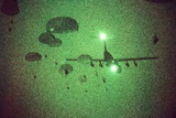 Night Vision Image of Paratroopers Jumping from C-141 Starlifter, Sept. 12 1989 Photographic Print