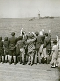 Jewish Refugee Children Waving at the Statue of Liberty from Ocean Liner, 1939 Photo