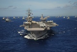 Aircraft Carrier USS Ronald Reagan Leads Allied Ships on Pacific Ocean, July 2010 Prints